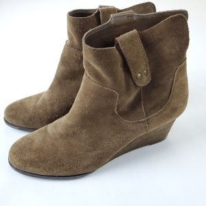 Lucky Brand Womens Ankle Boots Brown Suede Wedge